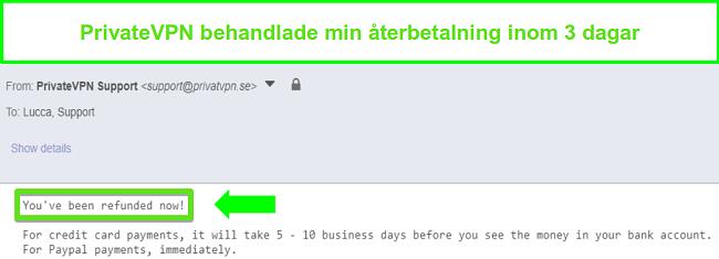 Skärmdump av PrivateVPNs svar efter bearbetning av en återbetalning