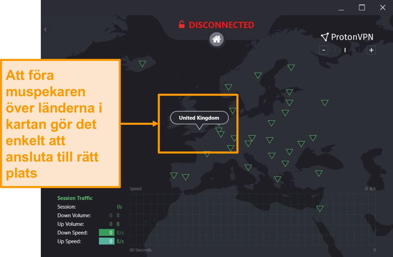 Skärmdump av ProtonVPNs interaktiva serverkarta.