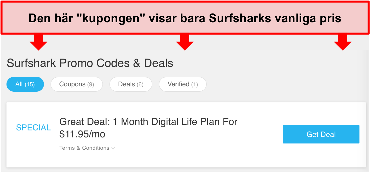 Skärmdump av falska Surfshark-kampanjkoder och erbjudanden