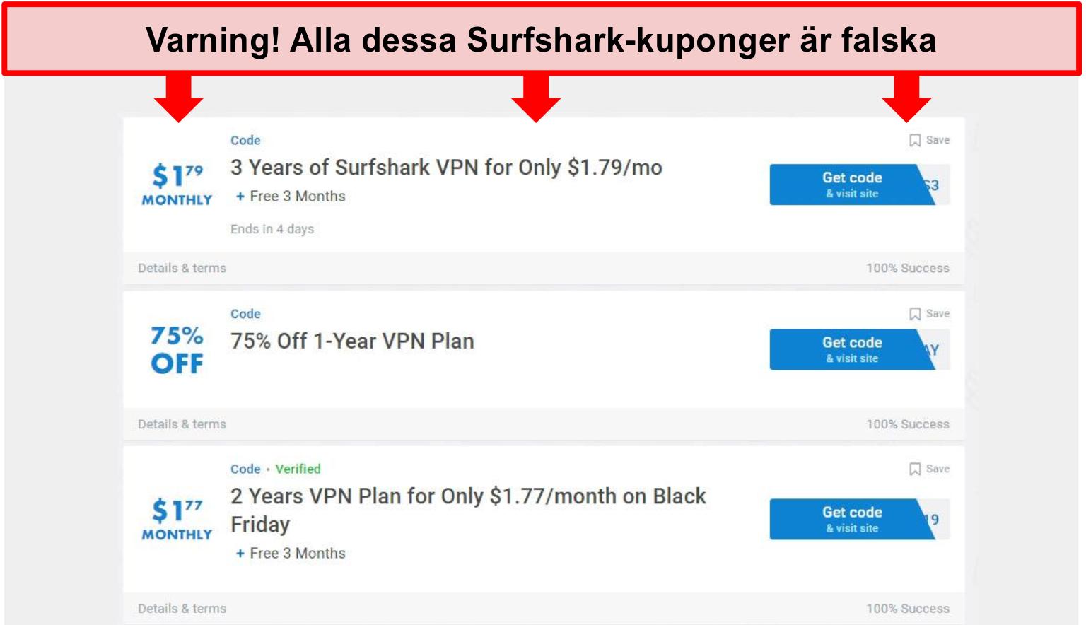 Skärmdump av falska Surfshark-kuponger