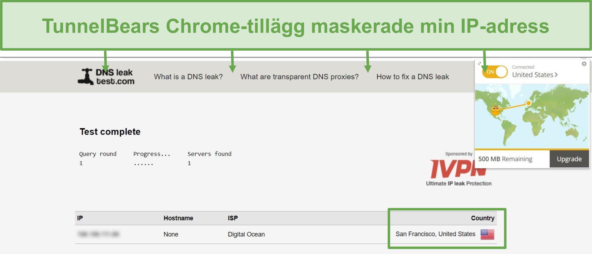 Skärmdump av DNS-läckagetestresultat när den är ansluten till TunnelBear.