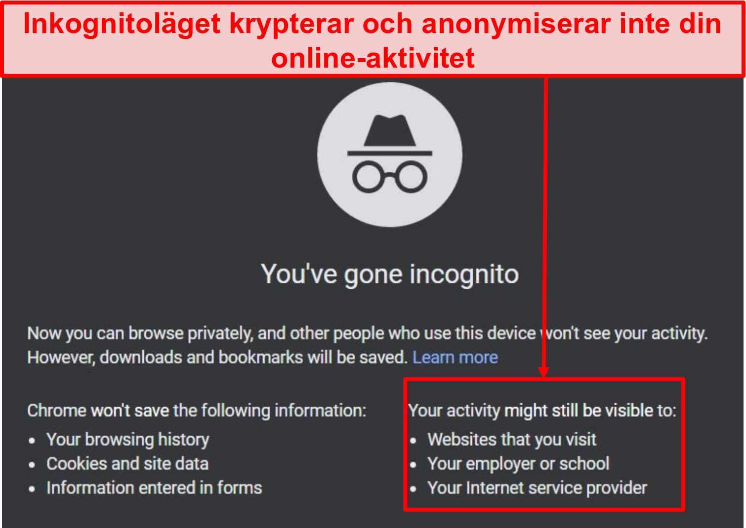 Skärmdump av meddelanden om inkognitoläge.