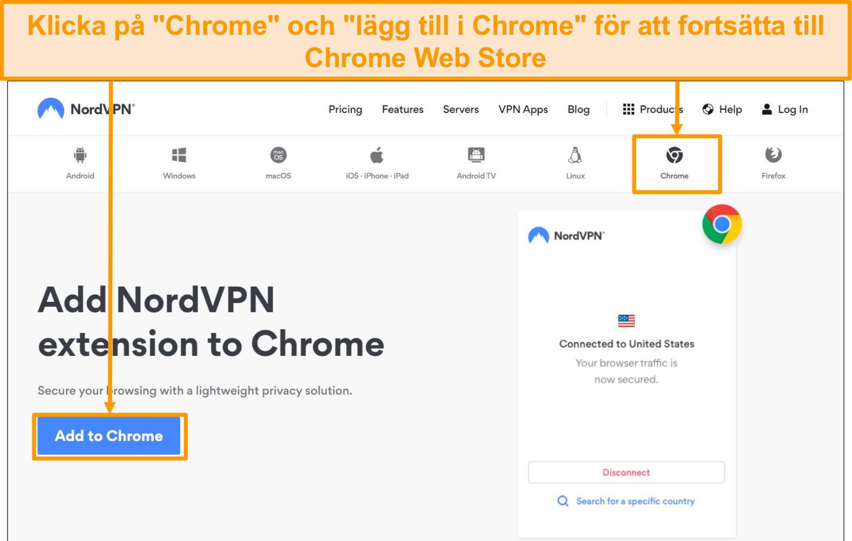 Skärmdump av NordVPN Chrome-webbläsarinstallation.