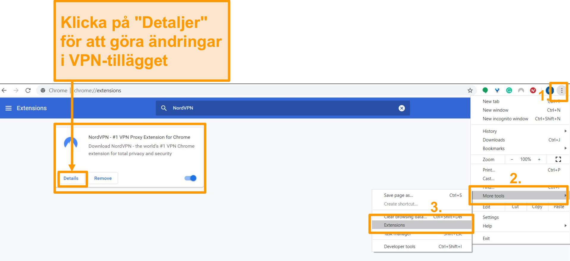 Skärmdump av inställningarna för webbläsartillägg i Google Chrome.