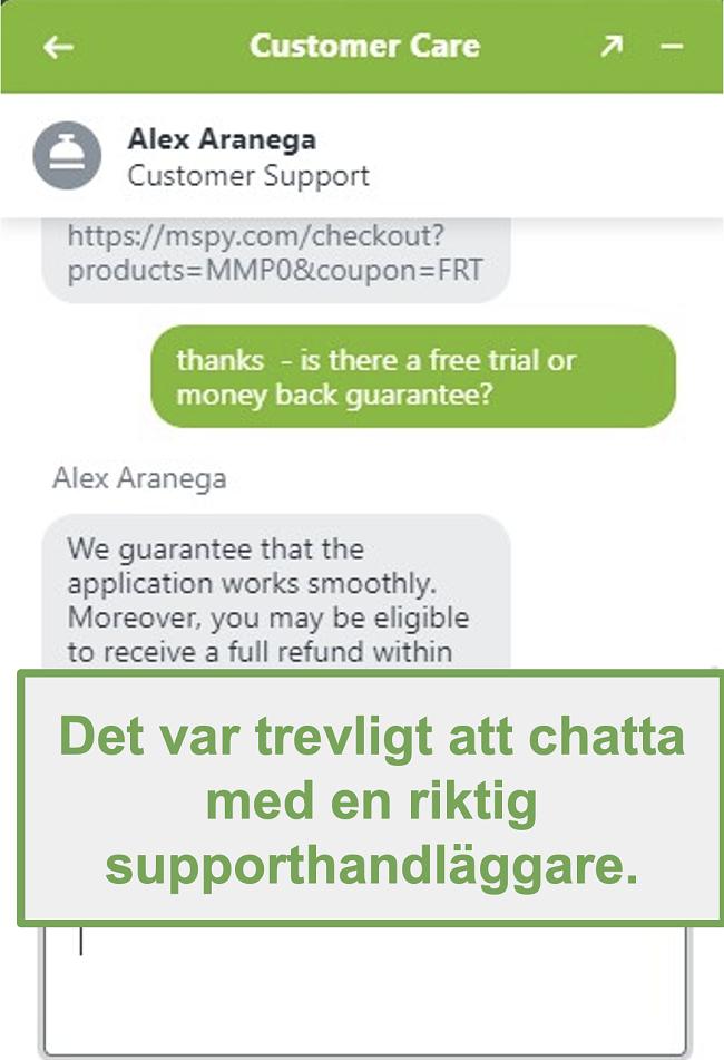 Skärmdump av chatten med en riktig kundsupportagent
