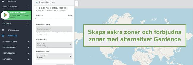 Skärmdump av säkra zoner och förbjudna zoner med alternativet Geofence