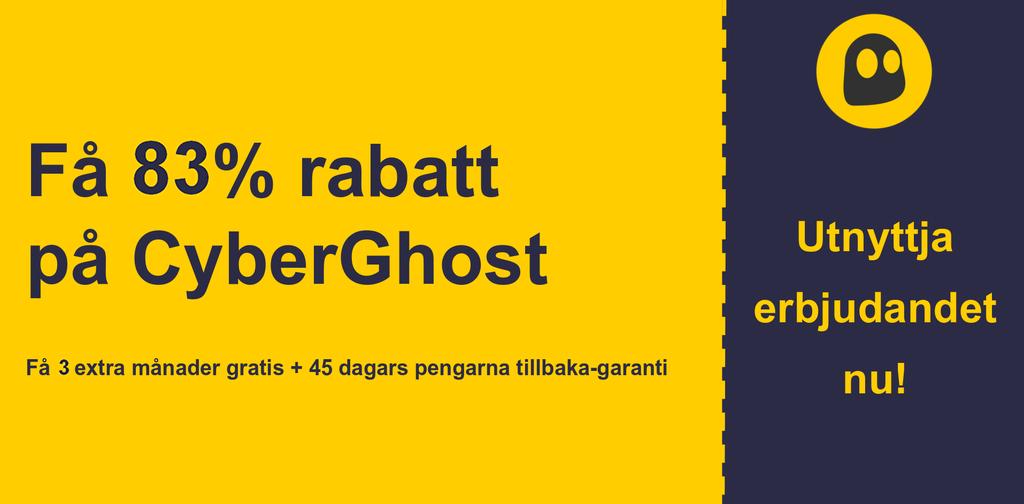 grafik över CyberGhostVPN: s huvudkupong banner som visar 83% rabatt