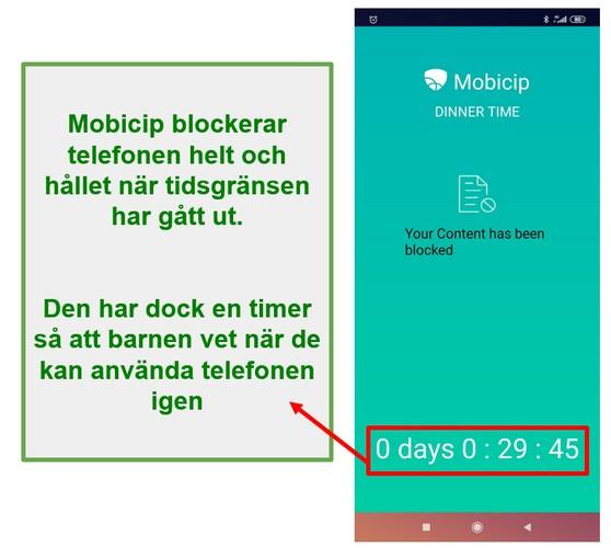 Mobicip blockerar en enhet