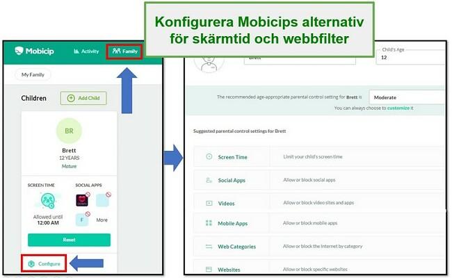 Mobicip ställa in webbfilter