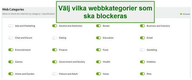 Mobiicip webbkategorier
