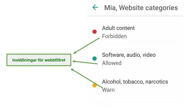 Safe Kids anpassar webbfilter