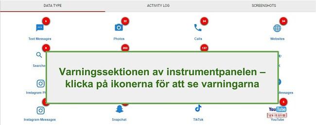 Skärmdump av avsnittet WebWatcher Alert