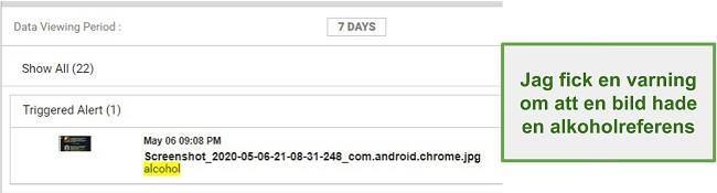 Skärmdump av WebWatcher -varningar från bilder