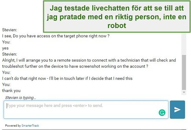 Skärmdump av Webwatchers kundsupport