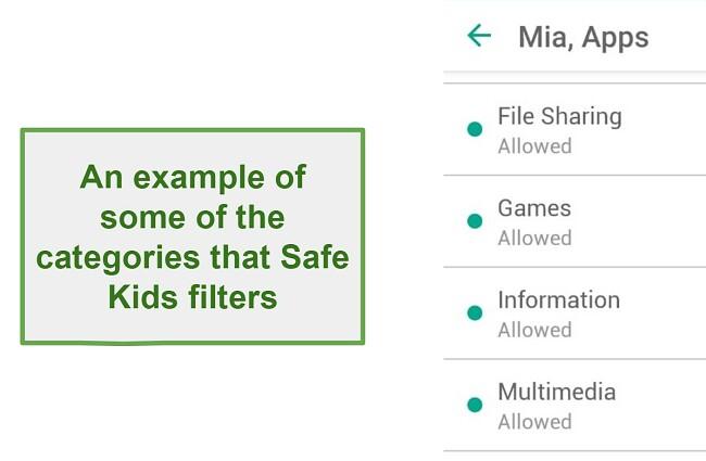 Safe Kids Filter categories