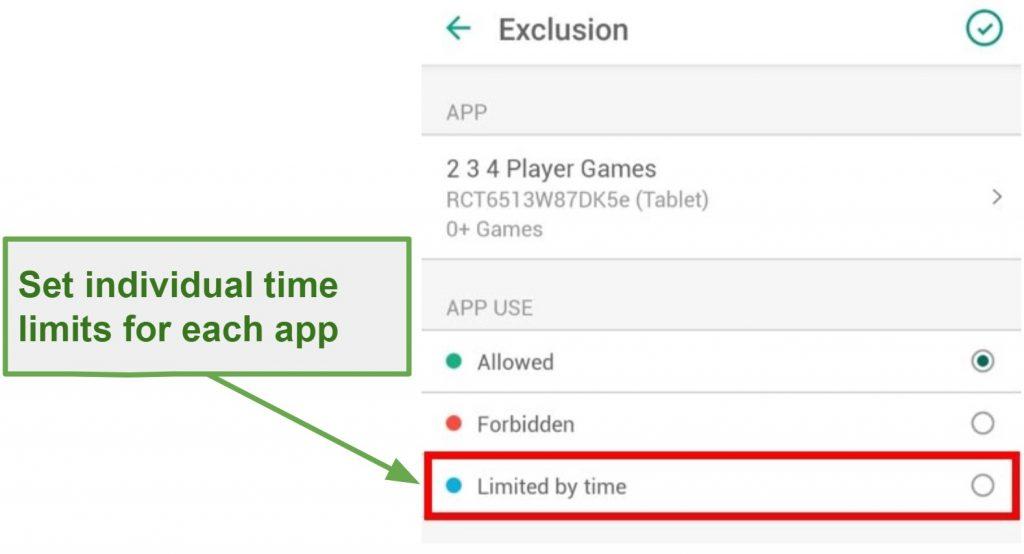 Safe Kids Limit app usage