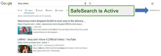 Safe Kids SafeSearch active