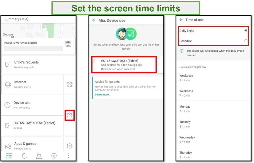 Safe Kids Screen Time Limits