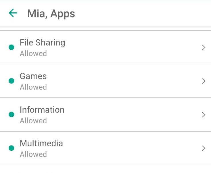 Safe Kids app categories
