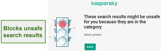 Safe Kids blocks unsafe search results