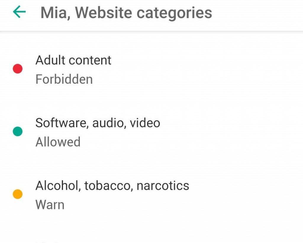 Safe Kids web filter categories