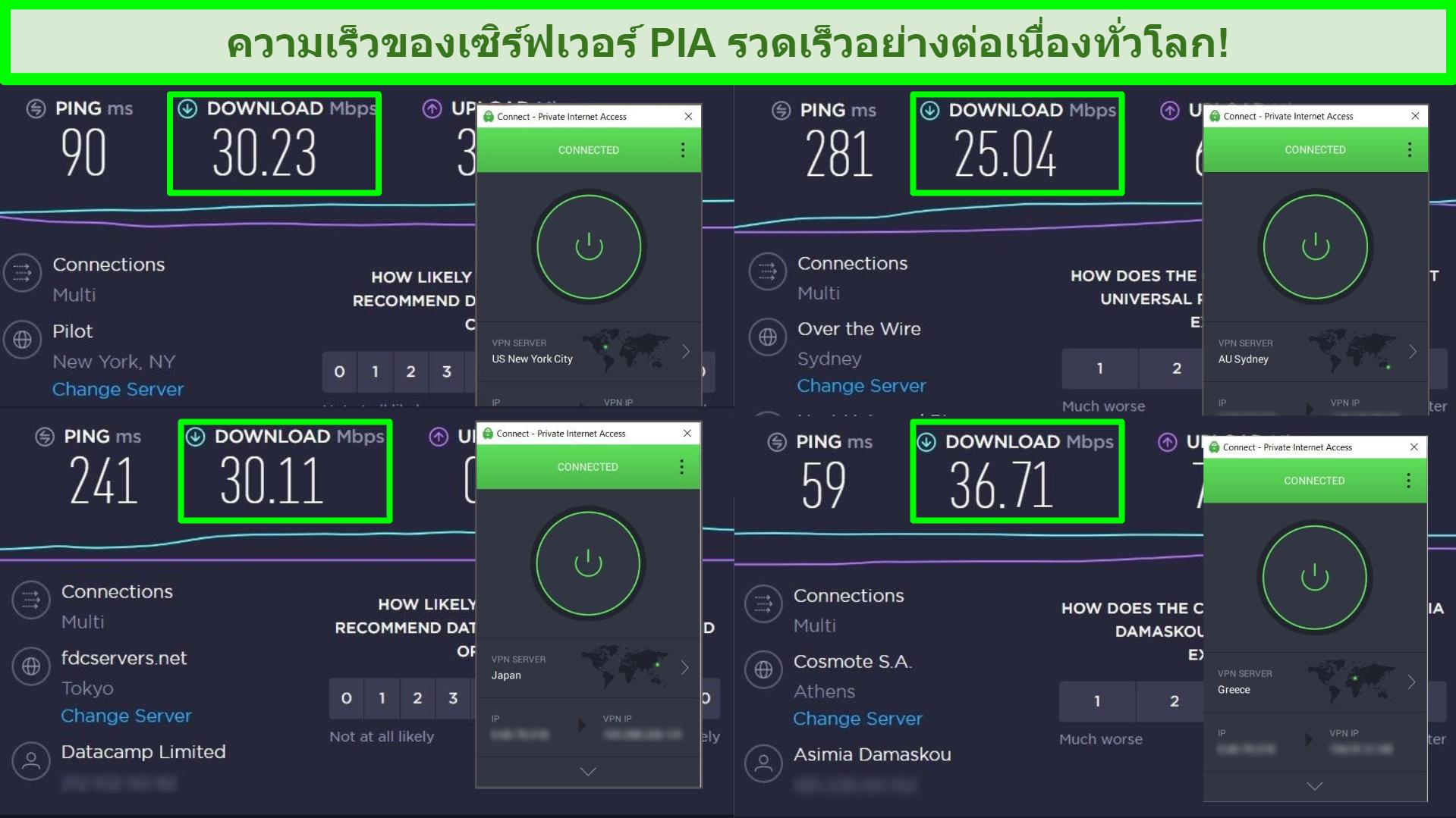 ภาพหน้าจอของการทดสอบความเร็ว Ookla ด้วย PIA ที่เชื่อมต่อกับเซิร์ฟเวอร์ทั่วโลกที่แตกต่างกัน