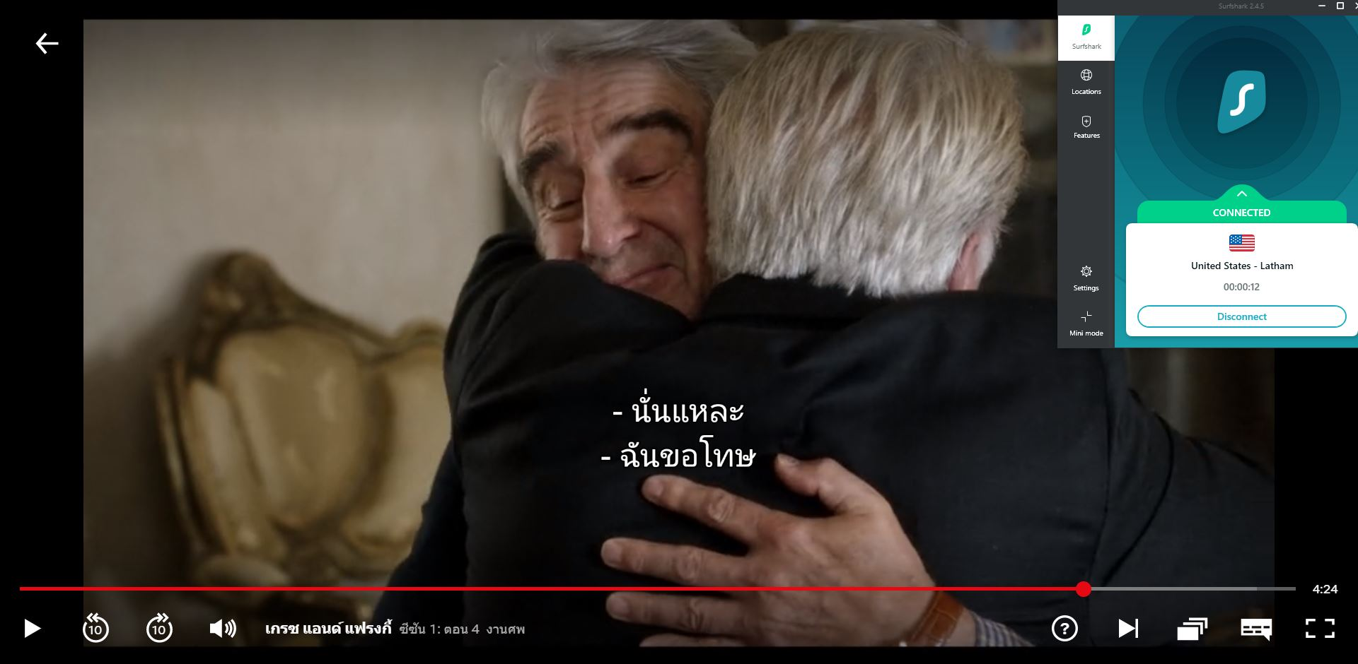 Screenshot of Surfshark connected to US server with Grace and Frankie streaming on US Netflix