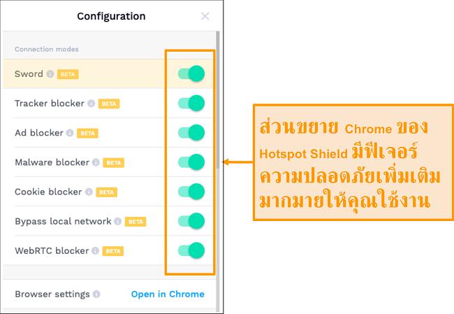 ภาพหน้าจอของคุณลักษณะความปลอดภัยส่วนขยาย Chrome ของ HotSpot Shield