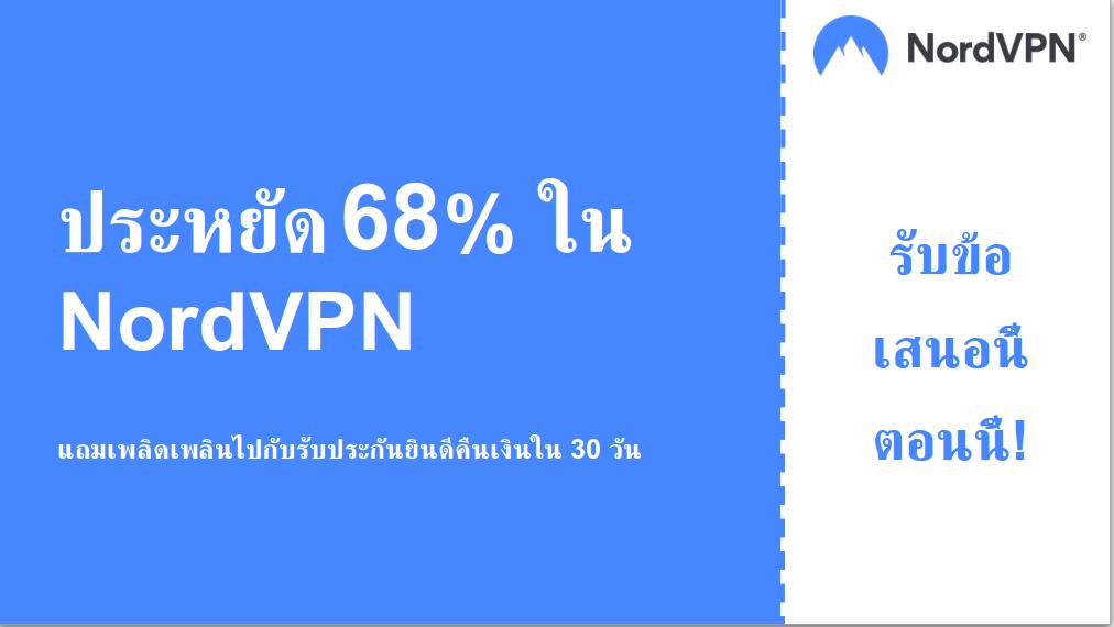 กราฟิกของแบนเนอร์คูปองหลัก Nordvpn ลด 68%