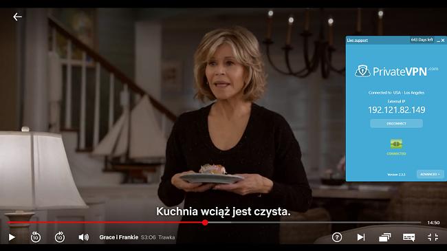 Grace and Frankie ile ABD sunucusuna bağlı PrivateVPN'in ekran görüntüsü Netflix ABD'de yayınlanıyor