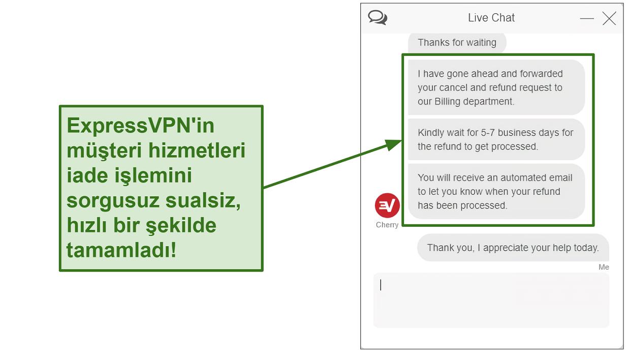 Canlı sohbet üzerinden ExpressVPN iade talebinin ekran görüntüsü