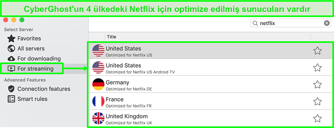 Netflix akışı için optimize edilmiş sunucuları gösteren CyberGhost uygulama arayüzünün ekran görüntüsü