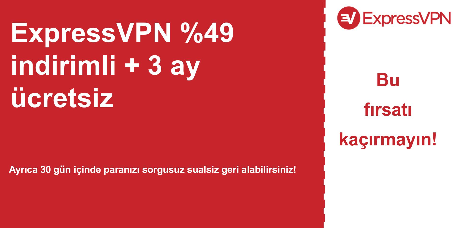 % 49 indirim gösteren ExpressVPN ana kupon banner grafiği