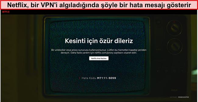 VPN, proxy veya engelleme kaldırıcı kullanırken Netflix hata mesajının ekran görüntüsü - Hata Kodu: M7111-5059