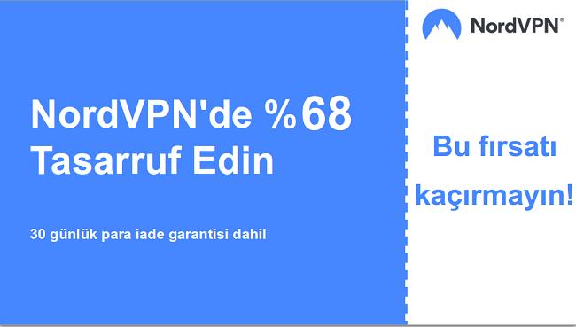 % 68 indirimli gösteren Nordvpn ana kupon banner grafiği