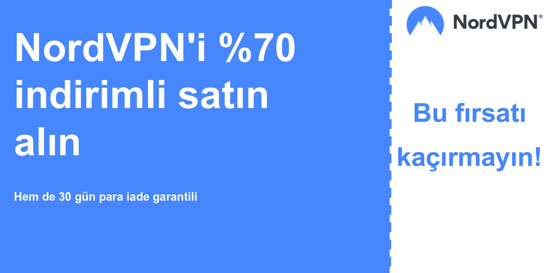 % 70 indirimli gösteren Nordvpn ana kupon banner grafiği