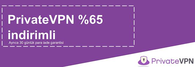 30 günlük para iade garantisi ile% 65 indirim sunan çalışan bir PrivateVPN kuponunun grafiği