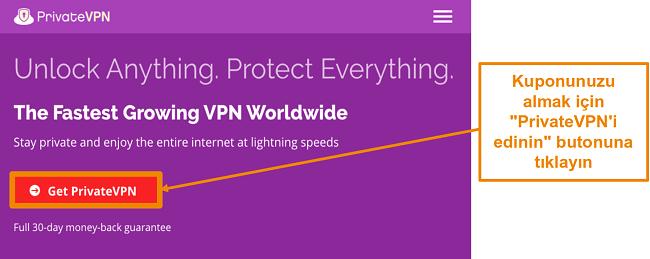 PrivateVPN'in ana ekranının ekran görüntüsü
