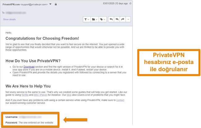 Bir hesaba kaydolduktan sonra PrivateVPN e-posta onayının ekran görüntüsü