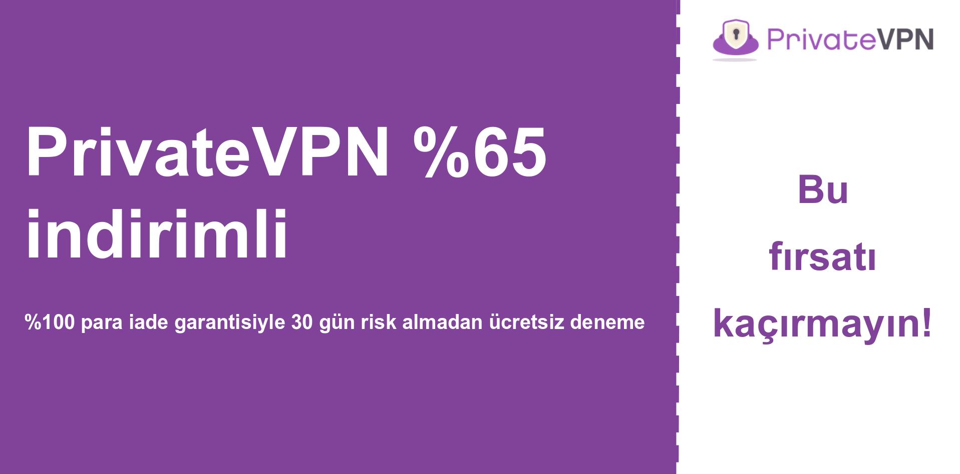 % 65 indirim gösteren PrivateVPN ana kupon banner grafiği