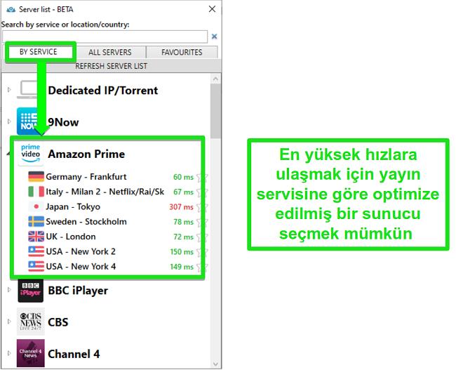PrivateVPN için akış sunucusu seçeneklerinin ekran görüntüsü