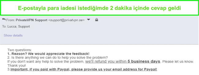 PrivateVPN ekran görüntüsü geri ödeme isteğime e-posta yoluyla hızlı bir şekilde yanıt veriyor