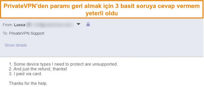 E-posta yoluyla PrivateVPN iadesi talep etmek için yanıtların ekran görüntüsü