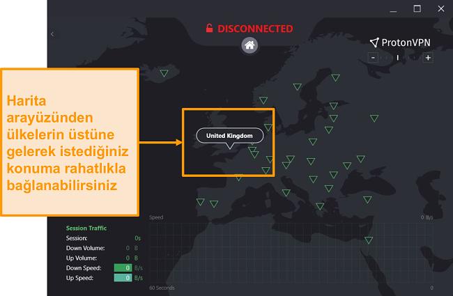 ProtonVPN'in etkileşimli sunucu haritasının ekran görüntüsü.