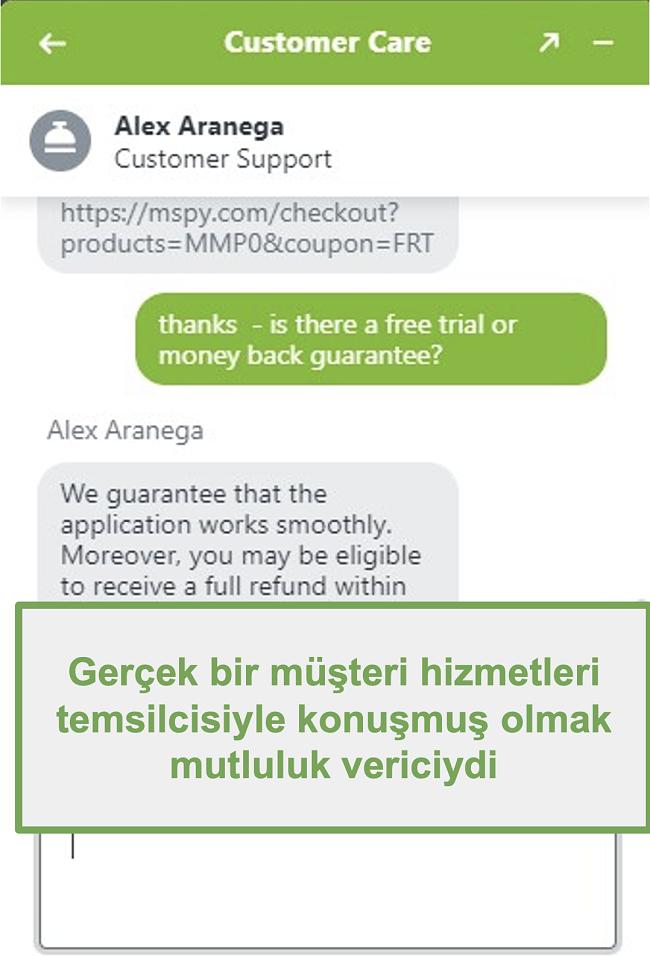 Gerçek bir müşteri destek temsilcisi ile sohbetin ekran görüntüsü