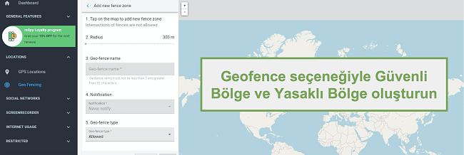 Geofence seçeneğiyle Güvenli Bölgelerin ve Yasak Bölgelerin Ekran Görüntüsü