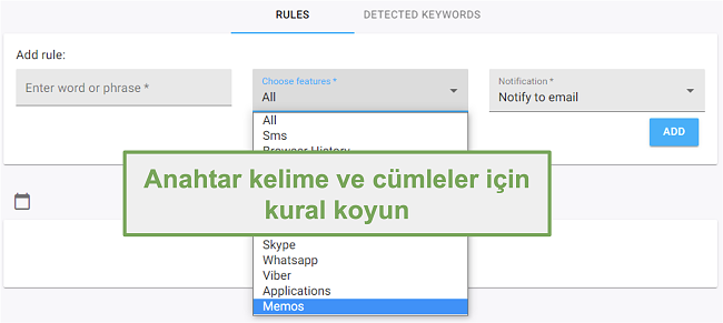 Anahtar kelimeler ve kelime öbekleri için kuralların ekran görüntüsü