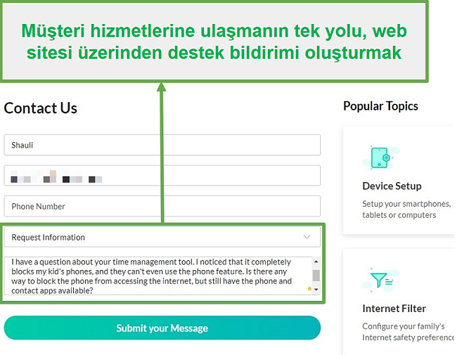 Mobicip müşteri hizmetleri