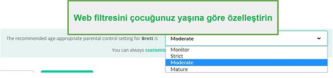 Mobicip filtre seçenekleri