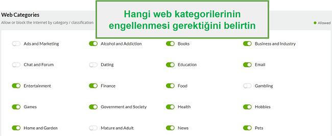 Mobiicip web kategorileri